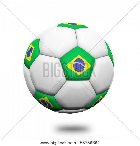 Soccer ball with Brazil flag 3d object isolated white background