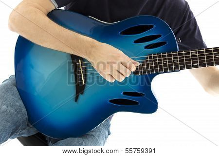 Guitarist With His Blue Electroacoustic Guitar On White Background