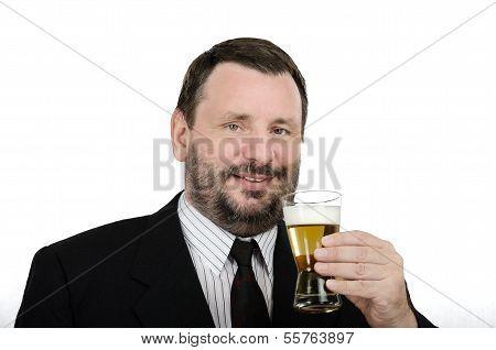 Bearded Man Enjoying Lager