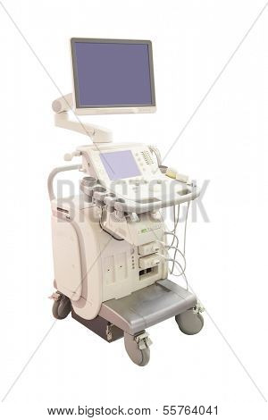 aparelhos de ultra-som sob o fundo branco