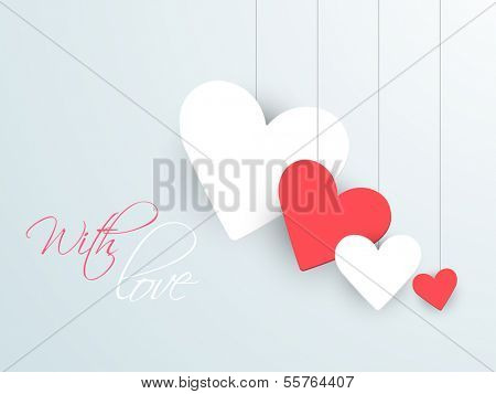 Happy valentines day background with hanging sticky in heart shapes.