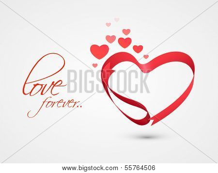 Stylish valentines day background with heart made by pink ribbon on grey background.