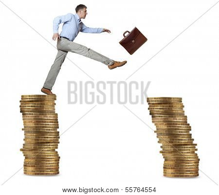 Businessman jump for risk from stable coin to unstable coin