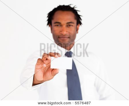 Young Afro-american Businessman Showing His Card