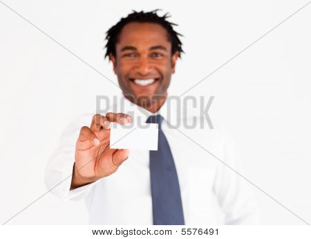 Afro-american Businessman Showing His Card, Focus On Fingers And Card