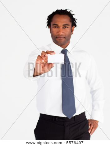 Young Businessman Holding White Card