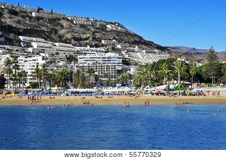 PUERTO RICO, SPAIN - OCTOBER 14: View of Puerto Rico beach on October 14, 2013 in Gran Canaria, Canary Islands, Spain. This is an important winter tourist destination for many europeans