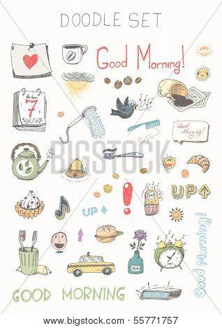 Doodle set - good morning