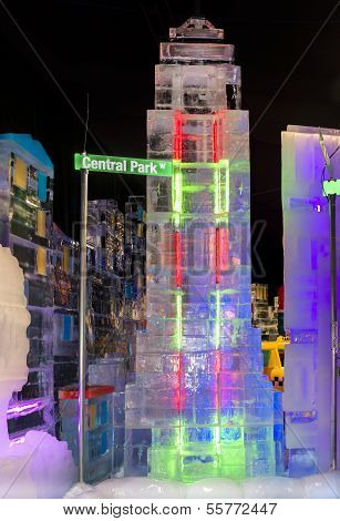 Christmas In New York City Ice Sculpture Display