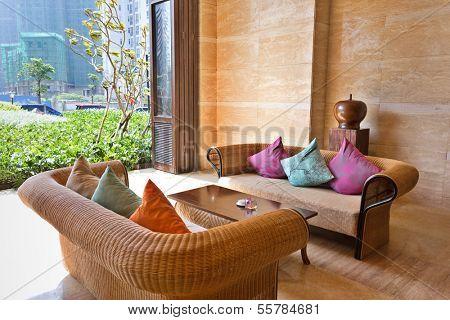Luxury resort hotel lobby, lounge, waiting area