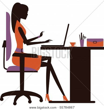 Silhouette Of Woman Working On Laptop.