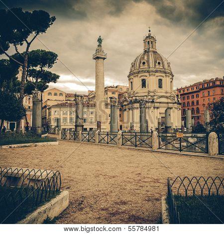 Vintage View - Traian Column And Santa Maria Di Loreto In Rome, Italy