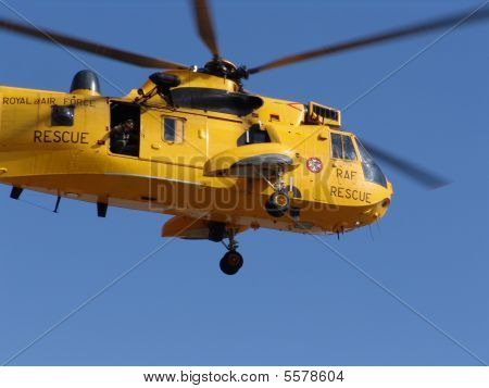 Yellow Rescue Helicopter flying