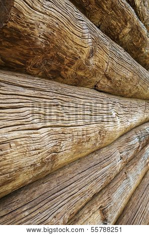 Beautiful old wooden log house wall texture
