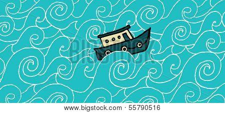 Small Boat Cruising A Choppy Sea