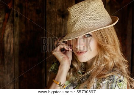 Portrait of Blonde Woman with Hat