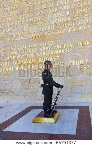 ANKARA, TURKEY-JULY 29:A Turkish Soldier in guard duty in mausoleum of Ataturk (Anitkabir) on July,29 2012 in Ankara, Turkey
