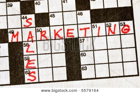 The Words Sales And Marketing On Crossword Puzzle