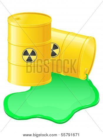 Yellow Barrels Spilled Radioactive Waste Vector Illustration