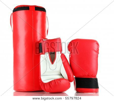 Boxing gloves and punching bag, isolated on white
