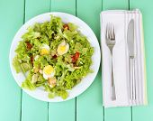 picture of caesar salad  - Caesar salad on white plate - JPG