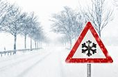 foto of snowy-road  - driving in winter  - JPG