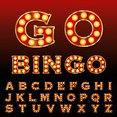 image of grammar  - vector red golden entertainment and casino letters with bulb lamps - JPG