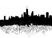 Chicago skyline grunge silhouette illustration