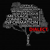 image of dialect  - High resolution concept or conceptual white dialect tree word cloud on black background wordcloud - JPG