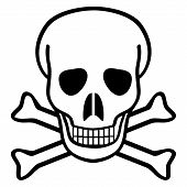 picture of skull crossbones flag  - Skull and crossbones on white background  - JPG