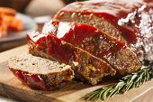 image of meatloaf  - Homemade Ground Beef Meatloaf with Ketchup and Spices