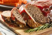 stock photo of roasted pork  - Homemade Ground Beef Meatloaf with Ketchup and Spices