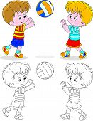 pic of volleyball  - Little boys play volleyball - JPG