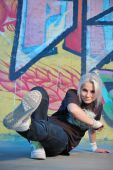 foto of break-dancing  - beautiful blond Girl break  - JPG