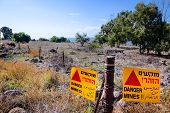 stock photo of golan-heights  - Mine field in Golan Heights in Israel - JPG