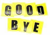 picture of bye  - Good bye in yellow note image with hi - JPG