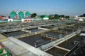 stock photo of turds  - A cleaning construction pool for sewage treatment - JPG