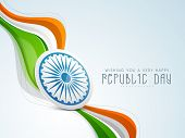 pic of ashoka  - Stylish Indian Republic Day concept with ashoka wheel in national tricolours wave on blue background - JPG