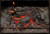picture of ember  - View of burning fireplace with fire and embers - JPG