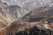 Iceland. South Area. Fjallabak. Volcanic Landscape With Rhyolite Formations. poster