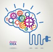 picture of cogwheel  - Creative Brain Idea concept background - JPG