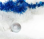 Silvery Ball With White And Blue Christmas Tinsel