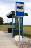 picture of bus-shelter  - There is a bus stop on nature green background - JPG