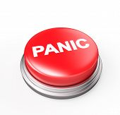 foto of panic  - Panic Button Isolated on white 3d render - JPG