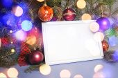 image of boll  - Colorful abstract background with christmas lights and white frame.   Christmas background with Ribbon boll and ornaments - JPG