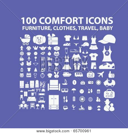 100 comfort icons: furniture, clothes, travel, baby toys icons set, vector
