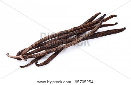 Vanilla pods in closeup
