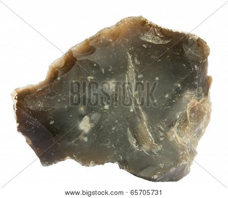 Flake Of Flint Isolated On White