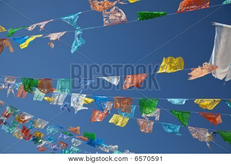 Colorful pennants blowing in the breeze