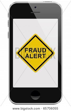 Cell Phone With Fraud Alert Message Warning